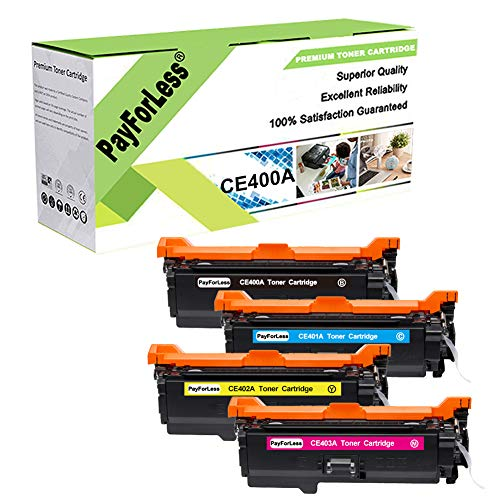 PayForLess 507A CE400A 504A CE250A Toner Cartridge 4PK Compatible for HP...