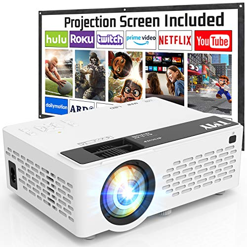 TMY Projector with 100 Inch Projector Screen, 1080P Full HD Supported Video...