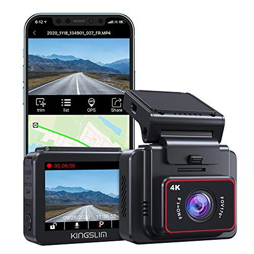 Kingslim D5 4K Dash Cam with Built-in WiFi GPS, UHD 2160P Dash Camera for...