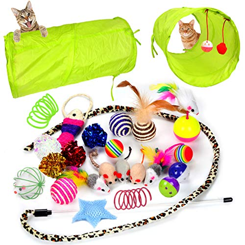 Youngever 24 Cat Toys Kitten Toys Assortments, 2 Way Tunnel, Cat Feather...