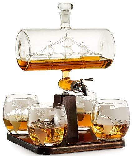 Whiskey Decanter with Antique Ship - The Wine Savant Ship Decanter Set with...