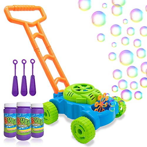 Lydaz Bubble Mower for Toddlers, Kids Bubble Blower Machine Lawn Games,...