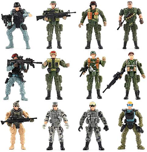 US Army Men and SWAT Team Toy Soldiers Action Figures Playset with Military...