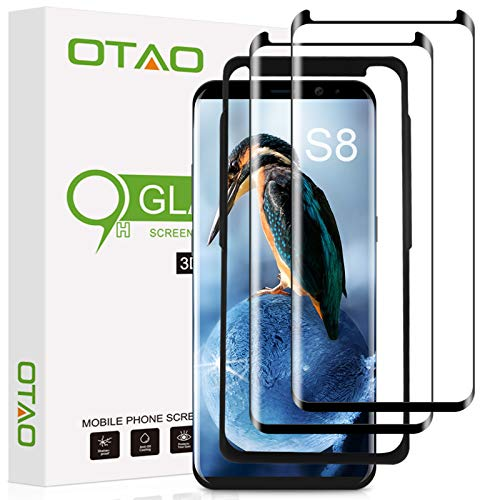Galaxy S8 Screen Protector Tempered Glass (2 Pack), OTAO 3D Curved Dot...