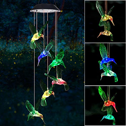 Wind Chime, Solar Hummingbird Wind Chimes Outdoor/Indoor(Gifts for...