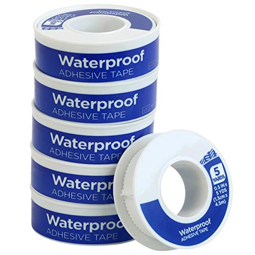 Iconikal First Aid Waterproof Adhesive Tape, 0.5 inch x 5 Yards, White,...