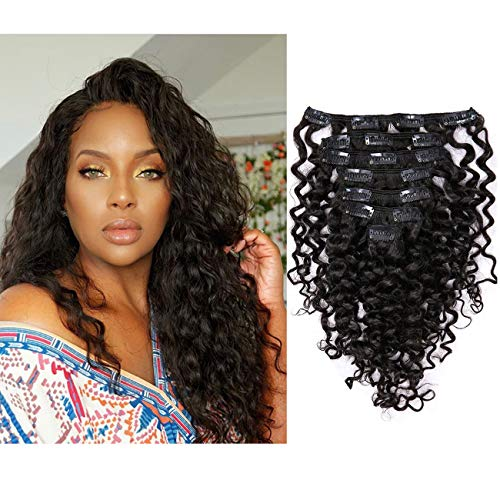 Lacerhair Water Wave Big Curly Clip in Remy Human Hair Extensions Real...