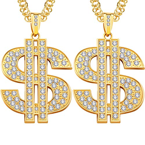 2 Pieces Gold Plated Chain for Men with Dollar Sign Pendant Necklace, Hip...