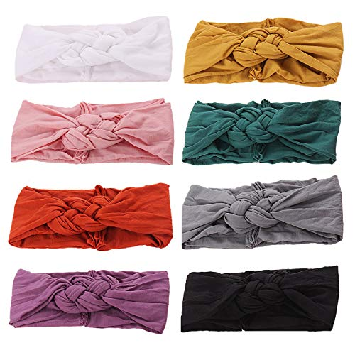 inSowni 8pcs Solid Celtic Knot Stretchy Nylon Headbands Hair Accssories for...