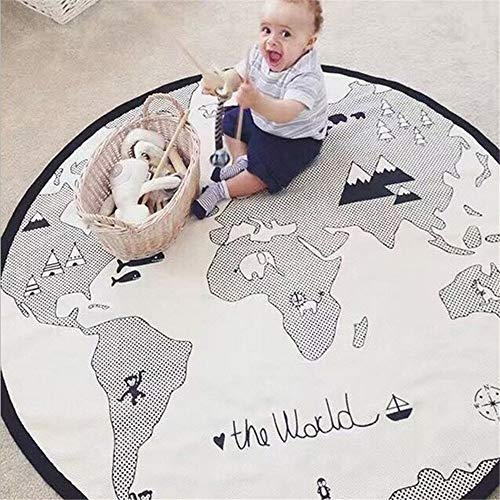 53 Inches Adventure World Map Pattern Baby Crawling Mats Game Blanket Floor...
