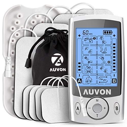 AUVON Dual Channel TENS Unit Muscle Stimulator Machine with 20 Modes, 2'...