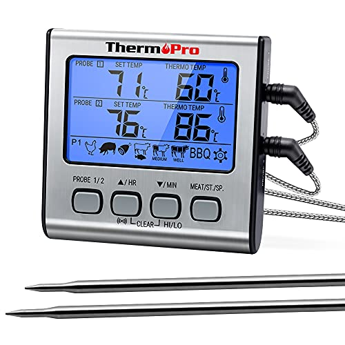 ThermoPro TP-17 Dual Probe Digital Cooking Meat Thermometer Large LCD...