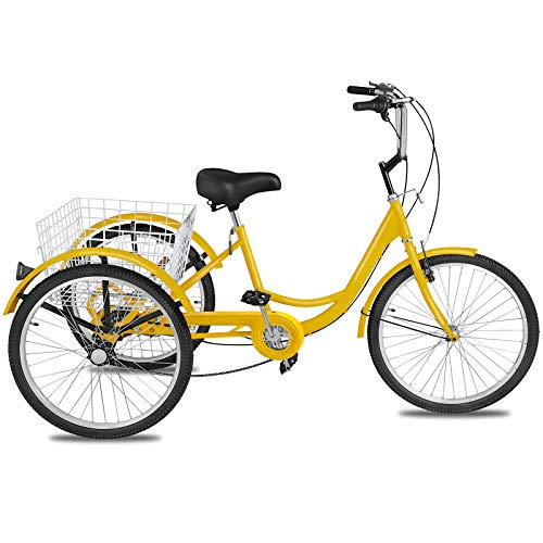 Happybuy Adult Tricycle 20 inch, Three Wheel Bikes 7 Speed, Yellow Tricycle...