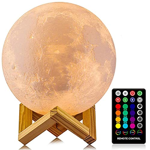 Moon Lamp, LOGROTATE 16 Colors LED Night Light 3D Printing Moon Light with...