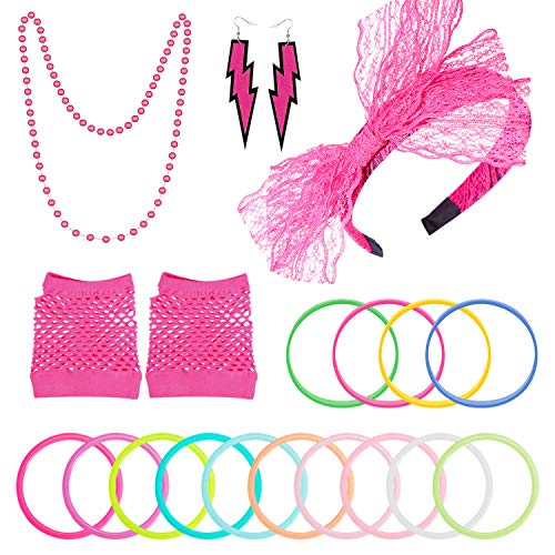 PAXCOO 80s Accessories Costumes for Women Girls Including Headband Earrings...