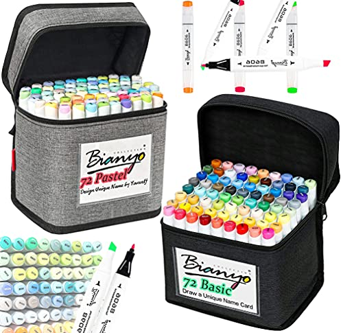 Bianyo Alcohol-Based Dual Tip Art Markers Combine Set, 72 Basic Colors&72...