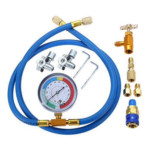 Aupoko A/C R134A Refrigerant Charging Hose Kit, Recharge Hose with Gauge,...