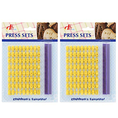 Tool Gadget Cookie Stamps, 2 Pack Number Alphabet Stamps for Cookie,...