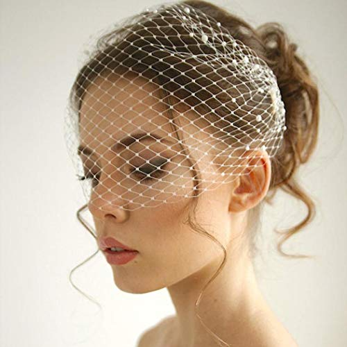Unsutuo White Wedding Birdcage Veils with Comb Bridal Veil Pearl Bandeau...