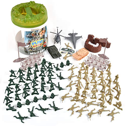 Military Battle Group Bucket – 100 Assorted Soldiers and Accessories Toy...