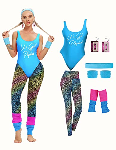 MIAIULIA Womens 80s Workout Costume Outfit 80s Accessories Set Leotard...