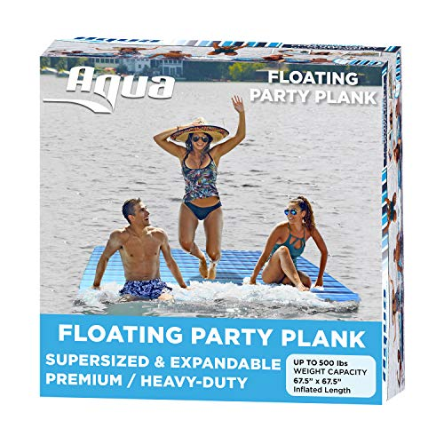 AQUA Large Floating Mat Raft Island with Expandable Zippers, 500 Lbs....