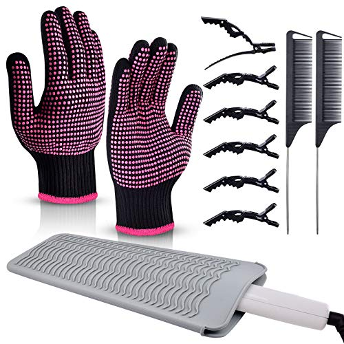Heat Gloves for Hair Styling,Morgles 2Pcs Professional Heat Resistant...