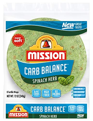 Mission Carb Balance Spinach Herb Tortilla Wraps, Low Carb, Keto, High...