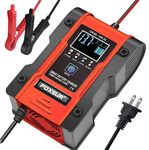 FOXSUR [New Upgrade] Lithium Battery Charger, 12V/24V 6Amp Full Automatic...