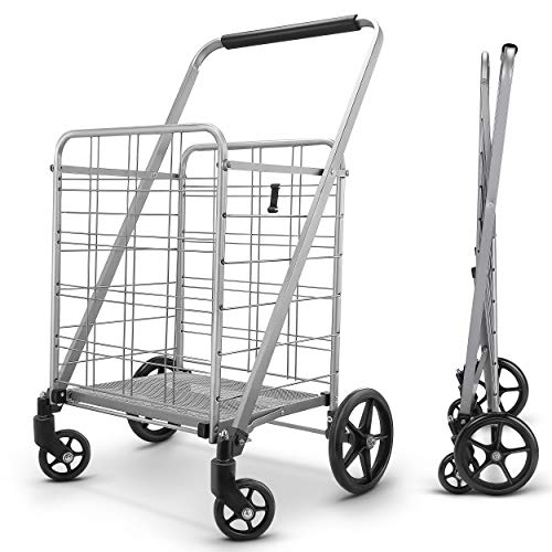 Newly Released Grocery Utility Flat Folding Shopping Cartwith 360°...