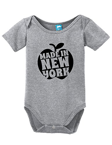 Made in New York Apple Printed Baby Romper Gray 3-6 Month