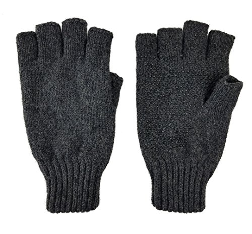 Bruceriver Men's Wool knitted with Thinsulate lining Fingerless Ragg Gloves...