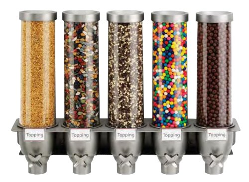 Rosseto EZ527 5-Container Ice Cream Topping Candy Wall Mount Dispenser,...