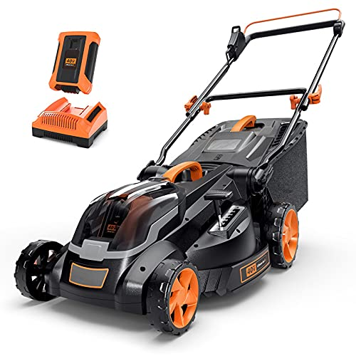 Cordless Lawn Mower, 40V Max 4.0Ah Battery, 16-Inch Brushless Lawn Mower,...