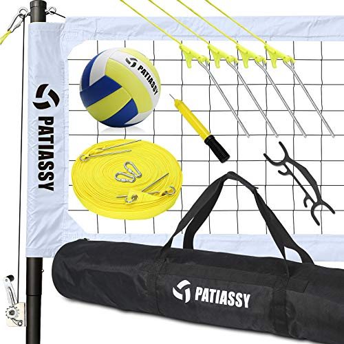 Patiassy Portable Outdoor Volleyball Net with Poles and Winch System for...