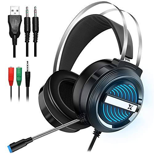 Dland Gaming Headset with Mic and Changeable LED Light for Laptop,Computer,...