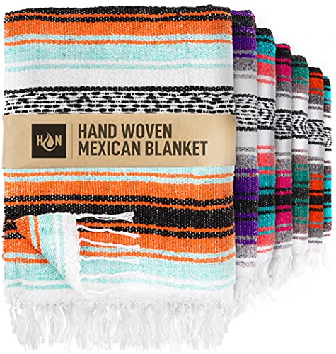 Handcrafted Mexican Blankets, Artisanal Handwoven Serape Blanket, Authentic...