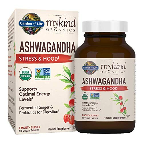 Organic Ashwagandha Stress, Mood & Energy Support Supplement with...