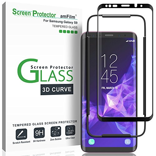 amFilm Glass Screen Protector for Samsung Galaxy S9, 3D Curved Tempered...