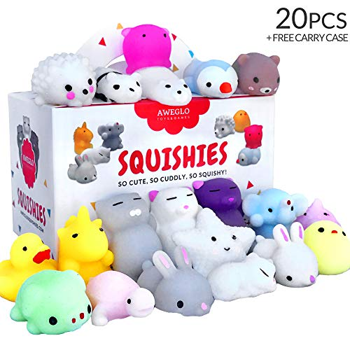 20 Squishy Toys Pack, Free CASE, 16 Animals, 11 Colors, AWEGLO Mochi...