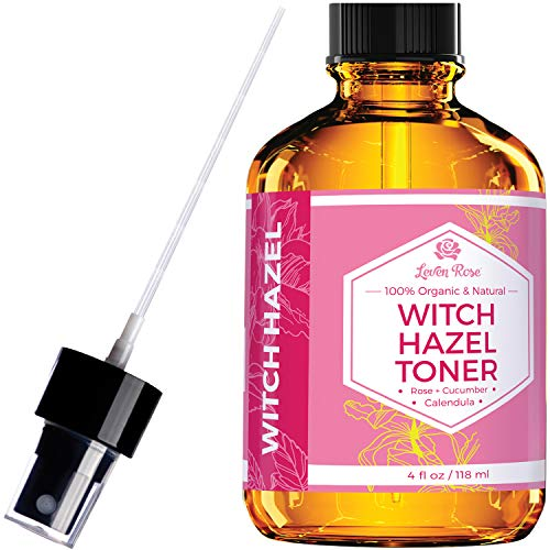 Witch Hazel Toner by Leven Rose, 100% Pure Organic Facial Rose Water with...