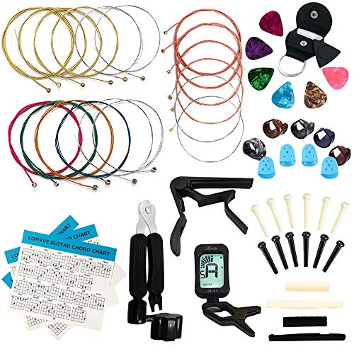 LOMEVE Guitar Accessories Kit Include Acoustic Guitar Strings, Tuner, Capo,...