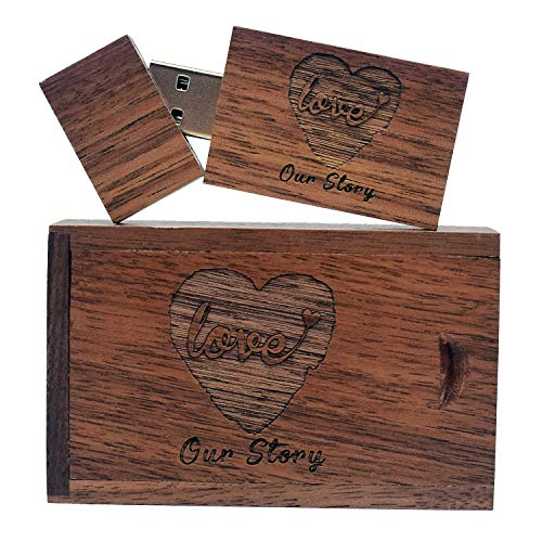 Wooden USB Flash Drive with Laser Engraved Our Love Story - 32GB USB 2.0...