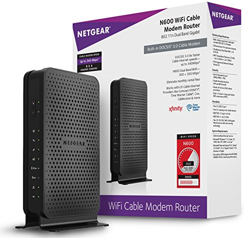 NETGEAR N600 (8x4) WiFi DOCSIS 3.0 Cable Modem Router (C3700) Certified for...
