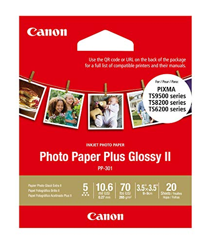 Canon PP-301 3.5' x 3.5' Photo Paper Plus Glossy (20 Sheets)