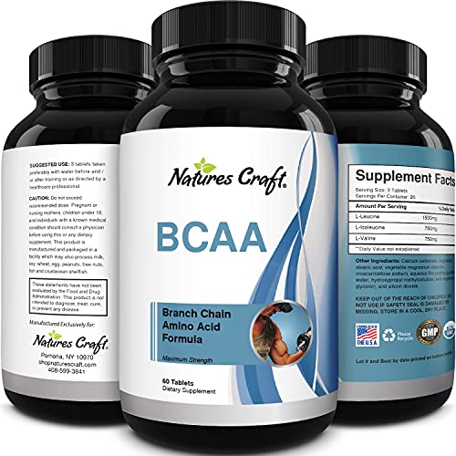 BCAA Pills-Pure Concentrated Essential Amino Acids-Muscle Recovery +...