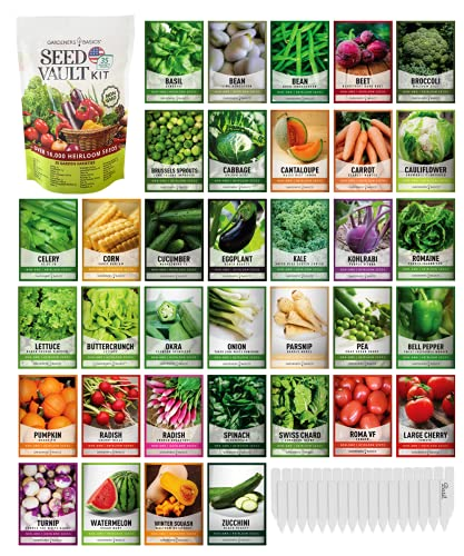 Survival Vegetable Seeds Garden Kit Over 16,000 Seeds Non-GMO and Heirloom,...