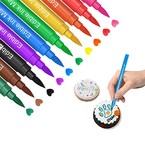 Edible Markers for Cookies Food Coloring Pens 10Pcs, Fine and Thick Tip...