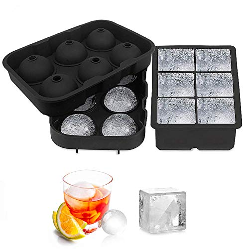 Yosnie Ice Cube Trays with Lid, 2 Pack Silicone Large Round Ice Cube Tray...