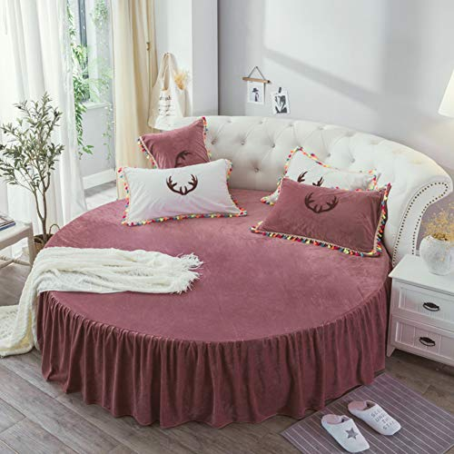 HAOLY Fale Velvet Round Bed Bed Skirt,Bed Sheet Bed Cover Round Simmons...